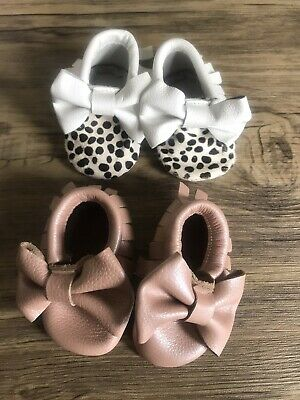 Real Leather, Baby Girl Handmade Moccasin Shoes. X 2, 3-6 Months • 7.90£