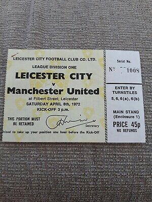 Leicester City V Manchester United TICKET.  8/4/1972 • 2.20£