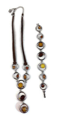 $ CDN24.98 • Buy Lia Sophia RETIRED Brown Amber Y Style Necklace And Bracelet Set Silver