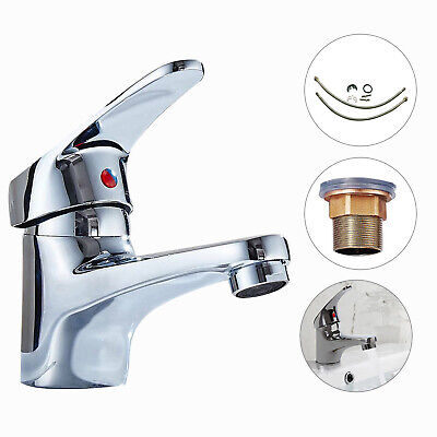 £9.59 • Buy Modern Bathroom Taps Basin Sink Mono Mixer Chrome Cloakroom Tap With 2 Hoses New