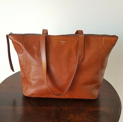 FOSSIL Large TAN BROWN LEATHER Zip TOTE SHOPPER EVERYDAY WORK Shoulder BAG • 16£