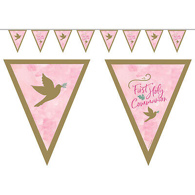 Pink First Holy Communion Pennant Flag Bunting Banner Party Decoration • 3.99£