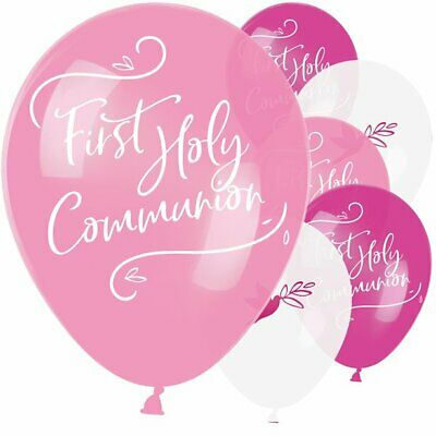 Pink First Holy Communion Assorted Latex Balloons Party Decoration • 3.99£