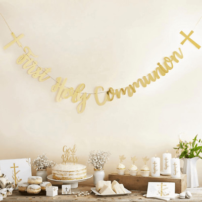 Gold Script First Holy Communion Cross Foil Bunting Banner Party Decoration 2m • 6.99£