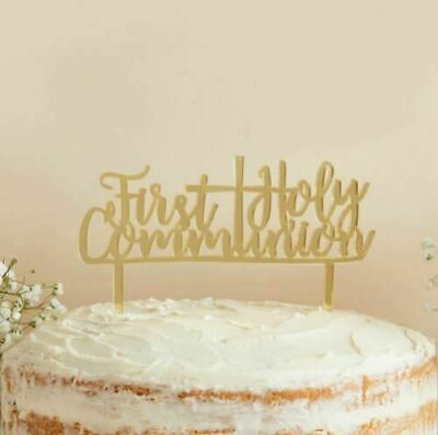 Gold Mirror Acrylic First Holy Communion Cross Cake Topper Party Decoration  • 4.89£
