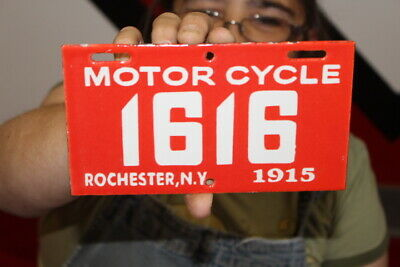 $ CDN13.12 • Buy Rochester New York Motorcycle 1915 License Plate Gas Oil Porcelain Metal Sign