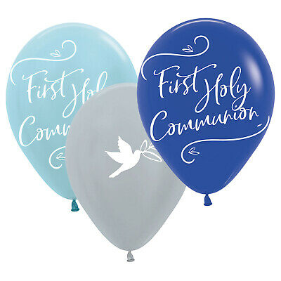 Blue First Holy Communion Assorted Latex Balloons Party Decoration • 3.99£