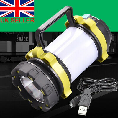 USB Rechargeable Outdoor Camping Lamp Torch Power Bank LED Lantern Tent Light • 13.99£