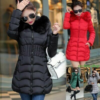 Womens Ladies Puffer Jacket Padded Coat Long Winter Parka Zip Up Faux Fur Hooded • 18.88£