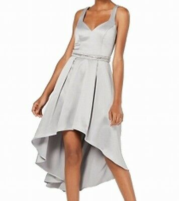 Sequin Hearts Dress Silver USA 15 Junior High-Low Satin Pleated Gown $109- #387 • 20.99£
