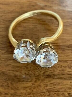 Antique 18ct Gold Platinum Ring With 2 Stones Unknown Hallmarked 4.9 Grams • 180£