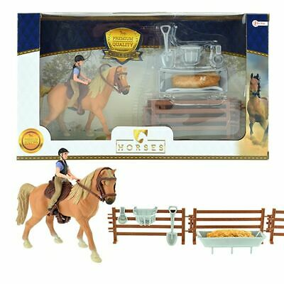 Horses Toy Brown Horse With Rider & Accessories From 3 Years Toi-Toys 37160 • 11.20£