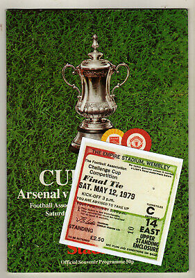 1979 FA Cup Final Arsenal V Manchester United Programme/ticket • 1.75£