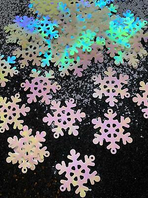 PVC Iridescent Sequin 40mm Snowflake Decoration Laser Cut White Card Making • 2.49£