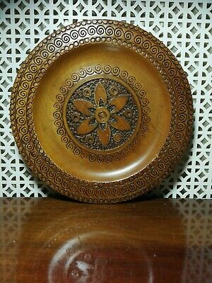 Vintage Antique Style Indian Hand Carved Wooden Dish Plate  With Brass Inlay  • 5.50£