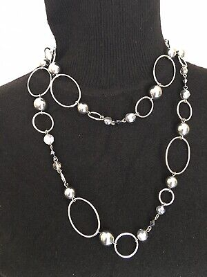 $ CDN19.76 • Buy Lia Sophia Long Silver Colored Necklace With Blue Gray Beads