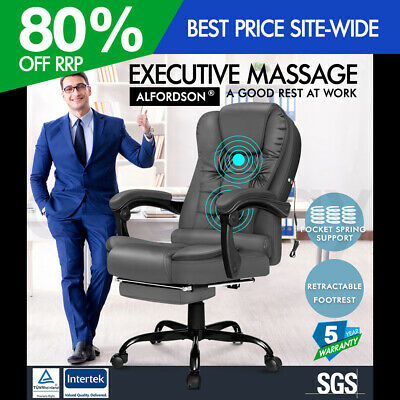 AU139.95 • Buy ALFORDSON Massage Office Chair FOOTREST Executive Gaming Racing Seat Grey PU