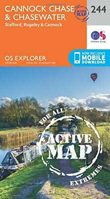 OS Explorer Map Active (244) Cannock Chase New Map Book • 13.65£