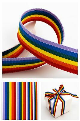 £1.75 • Buy Bright Rainbow Striped Ribbon Double Sided Grosgrain - 10 - 38mm NHS/LGBT Events