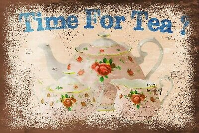 Time For Tea Vintage Look Retro Style Metal Sign Plaque, Afternoon Tea Cake • 4.99£