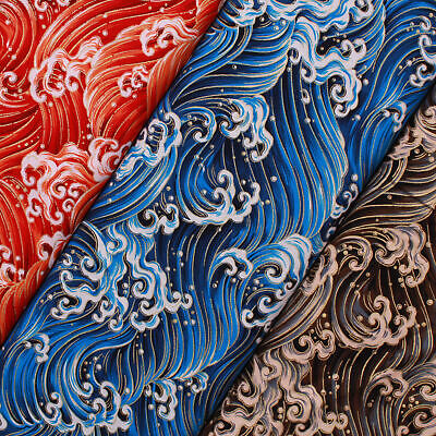 £9.99 • Buy Foil Cotton Japanese Pounding Waves Fabric 60  Wide
