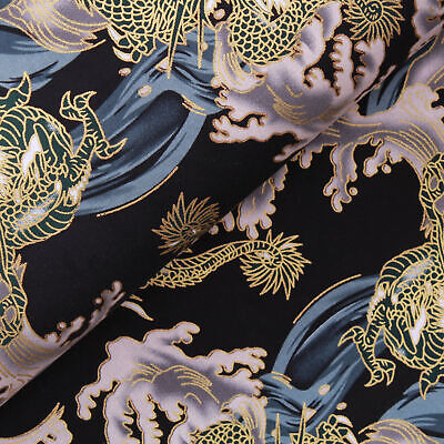 £4.99 • Buy Foil Cotton Japanese Roaring Dragon Fabric 60  Wide