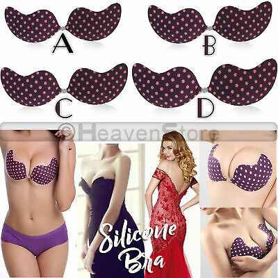 Silicone Adhesive Stick On Gel Strapless Invisible Bra Backless Purple Polka UK • 3.99£