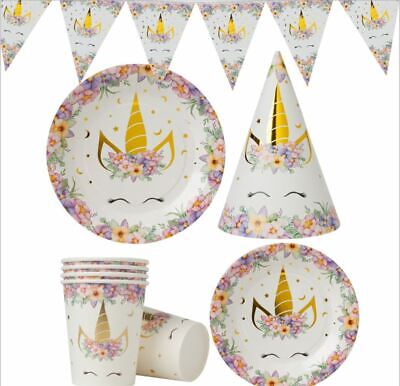 AU5.95 • Buy Magical Unicorn Party Accessories Supplies Plates, Cups, Napkins, Party Banners