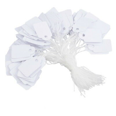 £2.95 • Buy White Tie On Labels Tie String Strung Gift Jewellery Price Tags Small 13 X 21mm