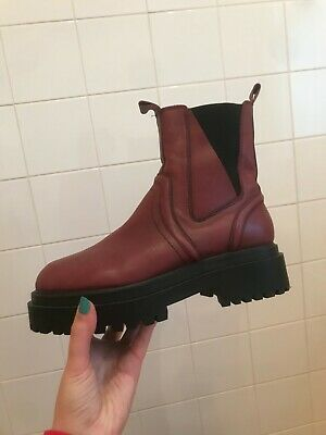 Topshop Burgundy Leather Chunky Boots - Size 7 • 9.99£