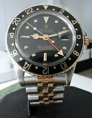 "$ CDN7118.28 • Buy Vintage Rolex GMT Master18k And Steel Date W/ Black "" Nipple ""Dial 16753"