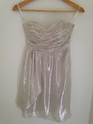 AU29 • Buy Forever New Silk/Metallic Fibre Oyster Strapless Ruched Bust Mini Dress 6 VGUC