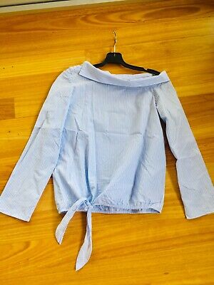 AU3.25 • Buy Zara Trafaluc Baby Blue Striped Asymmetric Shoulder Top. Size XS