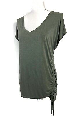 $ CDN24.70 • Buy Anthropologie Top Army Green Side Tie Ruched Drapey Tee Maeve Size L