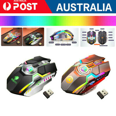 AU12.49 • Buy Wireless Gaming Mouse LED RGB Laser Usb Optical Game Rechargable Silent Laptop