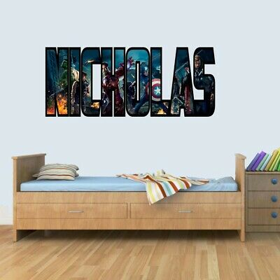Customisable Marvel Heroes Childrens Name Stickers Wall Art Decal Vinyl For Boys • 9.99£