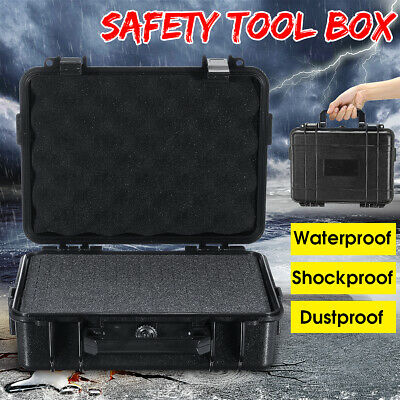 £28.63 • Buy ABS Plastic Black Rugged Waterproof Portable Tool Box Compartment Storage Case