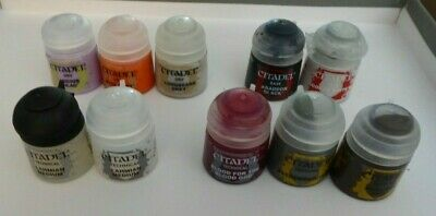 Set Of 10 New Games Workshop Citadel Paints - Technical, Dry And Shades • 17.99£