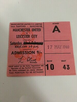 68/69 TICKET Manchester United V LEICESTER CITY • 4.99£