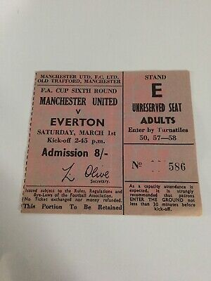 68/69 TICKET Manchester United V EVERTON FA CUP • 4.99£