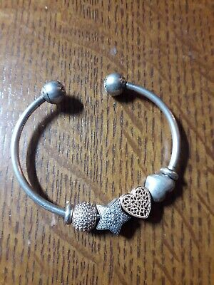 Pandora Bracelet MOMENTS SNAKE CHAIN STYLE OPEN CHARM BANGLE 16.5cm And 4 Charms • 103.13£