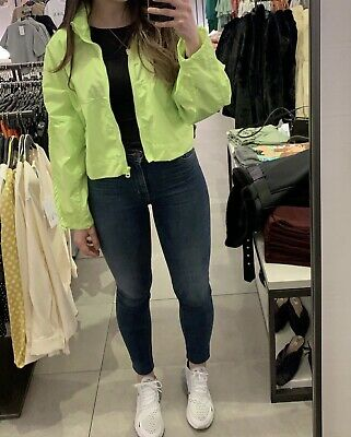 AU28 • Buy Zara Cropped Windbreaker Neon Yellow Green Size Small