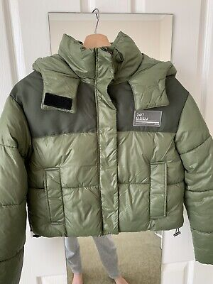 AU40 • Buy Bershka Puffer Jacket With Hood In Khaki Green Size XS Like New
