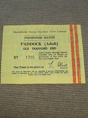 Manchester United - Postponed Match TICKET. 1970s • 0.99£