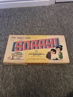 Vintage  Sorry!  The Great Game Sorry Board Game By Waddington's 1963 VGC • 14.99£