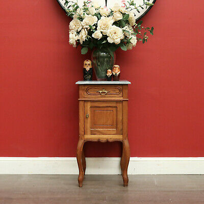 AU595 • Buy Antique French Bedside Table, Oak Lamp Cabinet, Side Hall Cupboard, Marble Top
