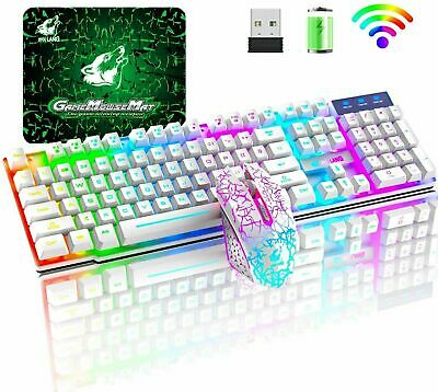 AU65.99 • Buy For PC PS4 Xbox One Wireless Gaming Keyboard And Mouse Sets LED Rainbow Backlit