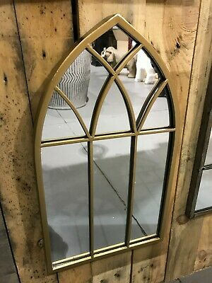 £29.99 • Buy Rustic Outdoor Arch Garden Mirror, Gold Colour Metal Frame Wall Mounted, Gothic