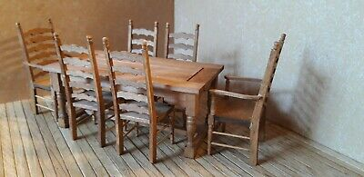 Dolls House Furniture 12th Scale, Tudor Table & Chairs - By Debbie  • 35£