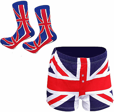 Union Jack Mens Patriotic Socks And Boxers Shorts Gift Set SMALL • 14.47£